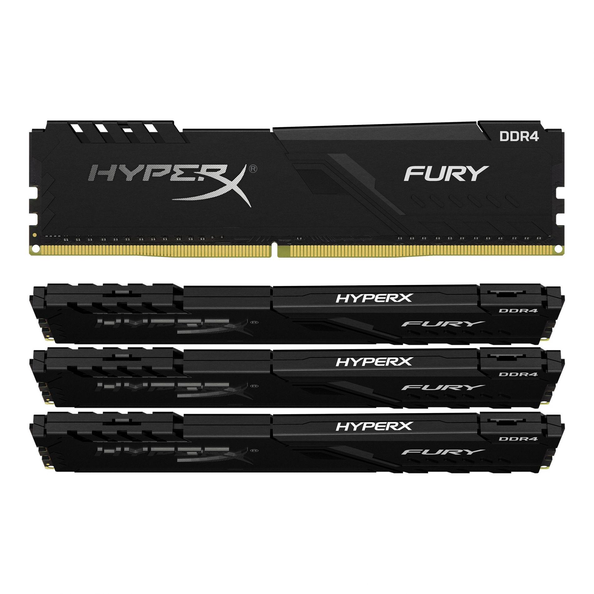 Memoria Ram kingston HyperX Fury Black, 4 GB, DDR4, 2666 MHz