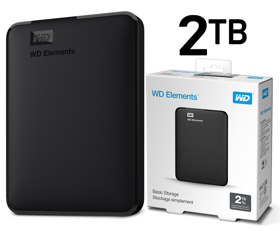 Disco duro externo Western Digital Elements Portable, 2 TB, USB 3.0, negro.